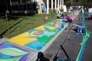 sidewalk, chalk, art, nature, scenes