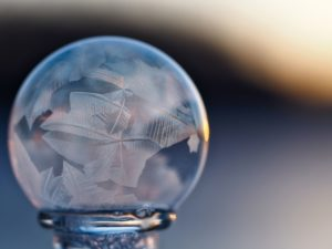 close up, crystal, ball, against, blue, background