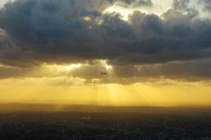 avión, cielo, puesta del sol, avión, vuelo