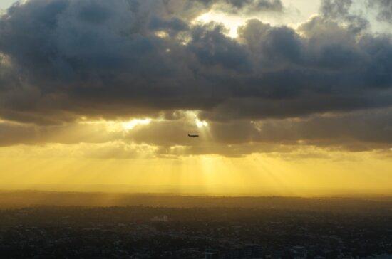 Flugzeug, Himmel, Sonnenuntergang, Flugzeug, Flug