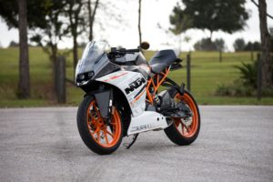 bike, motorbike, motorcycle, sport, vehicle, parked, white, orange, ktm