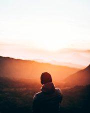 dawn, dusk, fog, landscape, man, mountain