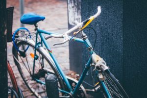 bicycle, bike, blue, parked