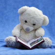 book, child, cuddly, paws, plush, read, sit, stuffed, toy, teddy, bear