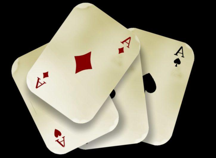 ases, tarjetas, cuatro, juego, suerte, afortunado, juego