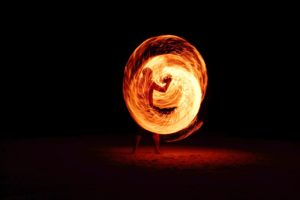 entertainment, fire, flame, long-exposure, man, night, person