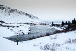 lake, winter, mountain, river, snow, trees