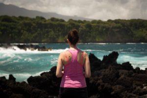 water, woman, coast, ocean, person, rocks, sea