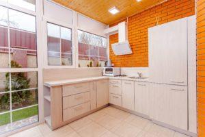 cuisine, architecture, brique, mur, contemporain, tiroirs, intérieur