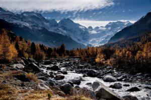 jesen, oblaci, krajolik, lišće, planine, drveće, dolina, vode, šume