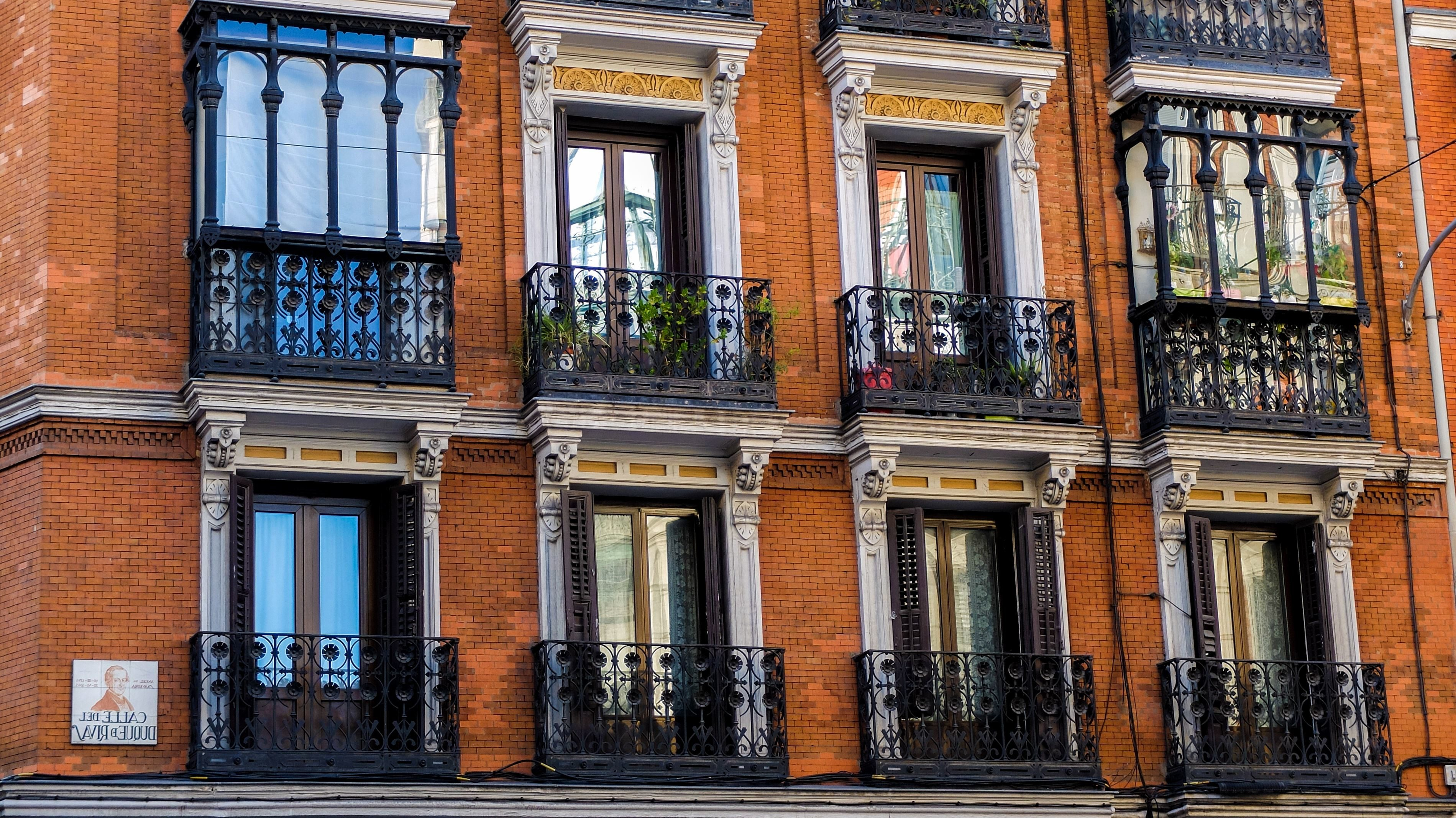 city building windows. Town  Traditional Windows Apartment Architecture Balcony Brick Walls Building City Free Picture