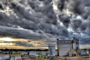 dark clouds, dawn, daylight, dramatic, dusk, storm, factory, industrial