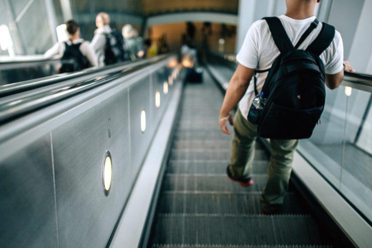 escalator, luggage, people, technology, travel, backpack