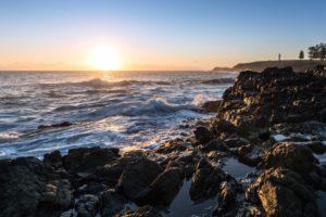 Felsen, Meer, Strand, Sonnenuntergang, Wasser, Welle, Küste, Landschaft