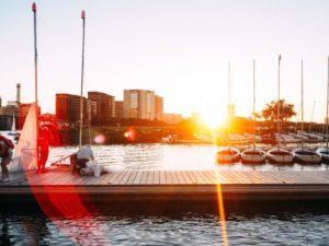 dock, bateaux, port, mer, eau, motomarines, port