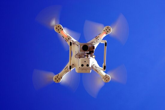dron, air, aircraft, airplane, aviation, blue, sky, camera, propellers