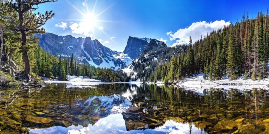 alpine, clouds, evergreen, forest, ice, lake, mountain, winter