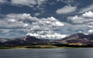 mountain, clouds, lake, landscape, nature, scenic, sky, water
