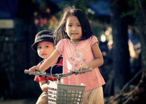 자전거, 소년, 아이, 여자, 행복 한 아이, 함께, 어린 아이