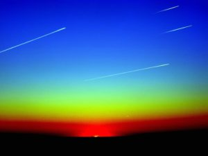 shooting stars, meteorites, nature, light, sky, sunset