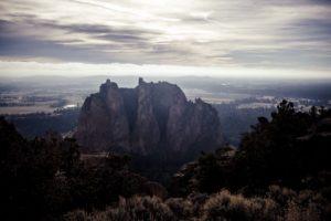 산, 새벽, 황혼, 안개, 자연, 바위, 산