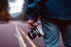 photo camera, landscape, lens, man, road, photographerg, travel