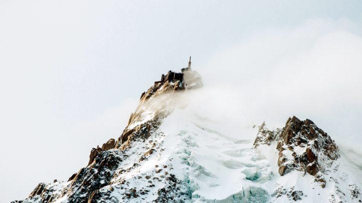 Hora, vrchol, sníh, zima, studené, mlha