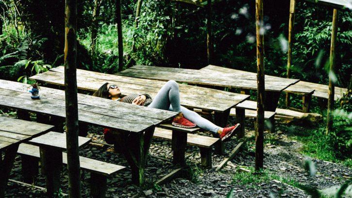 garden, girl, plants, relaxing, sleeping, backyard, bench