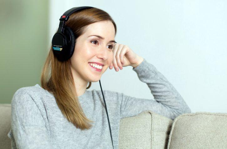 listening music, women, headphones, headset, smile