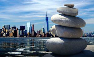 stadsgezicht, meditatie, Oceaan, ontspanning, rotsen, zee, rust, water, zen