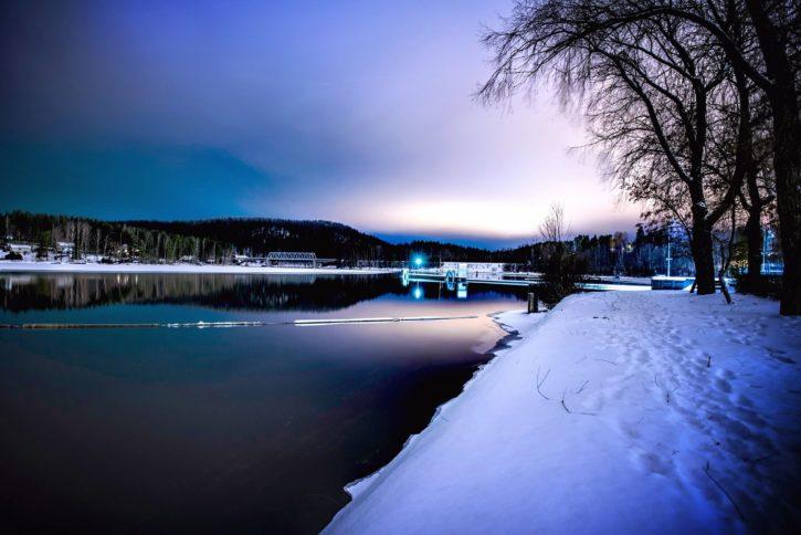 Image libre aube au cr puscule le soir le gel le coucher du soleil les arbres l 39 eau l 39 hiver - Palpitations le soir au coucher ...