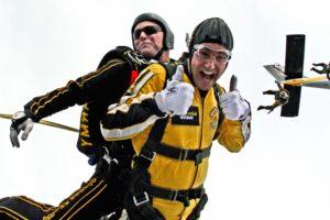 paracadutisti, tuta, uomini, cielo, paracadutismo, tandem, adrenalina