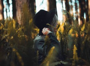 trees, woman, forest, girl, hat, person