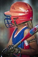 baseball player, girl, sport, game, athlete, helmet