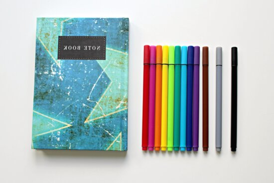 colorful pencil, coloured, pens, notebook