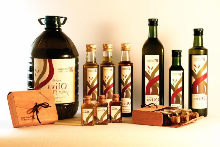 olivolja, flaskor, present, glas