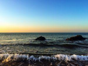 oceana, stijene, more, nebo, izlazak sunca, plaža, voda, valovi