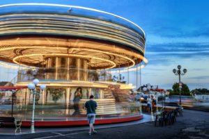 park, city, amusement, people, road, street, lamps
