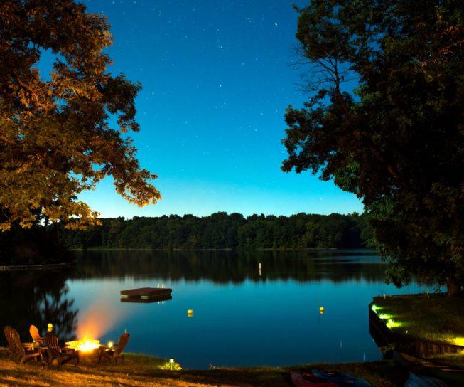 řeka, cestování, stromy, voda, oheň, soumrak, lesní, idylické, jezero