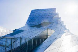 futuristic design, building, glass, architecture
