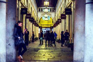 comerciale, magazine, strada, tunel, oameni, avenue, candelabre, lampă, lumini, piata