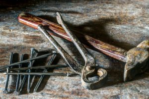 rusty tools, hammer, nails, hand tool