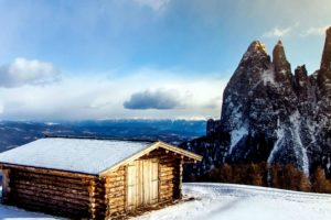 montagna, fuori, scenico, cielo, neve, inverno, cabina, freddo