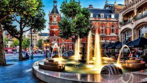 fountain, downtown, city, architecture, cityscape, street, town