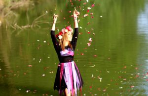 flower, crown, girl, lake, model, person, river, water, beautiful, confetti