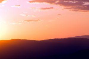 montagnes, nature, silhouette, ciel, lever, coucher de soleil, nuages, aube, crépuscule