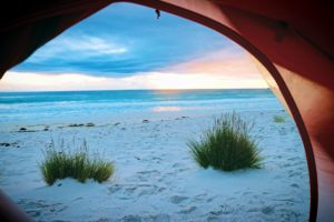 beach, tent, sad, sea, seascape, seashore