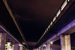 under bridge, city, lights, road, architecture
