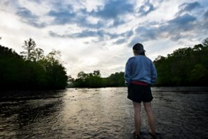 girl, photo model, recreation, river, clouds, water, woods