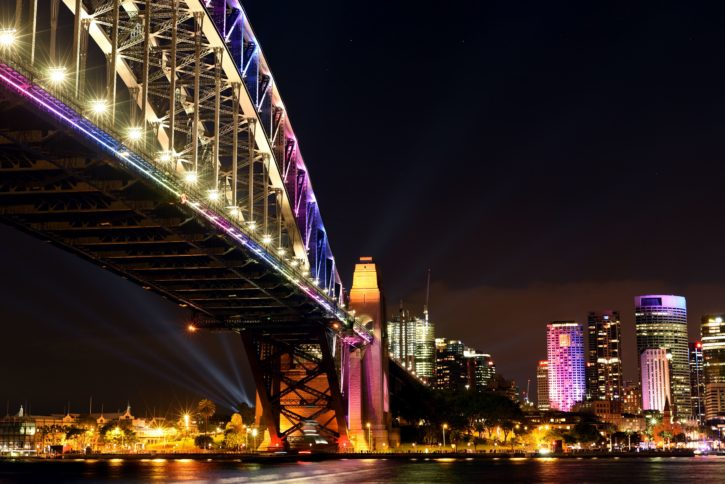 bridge lights, bridge, buildings, city lights, traffic, travel, urban